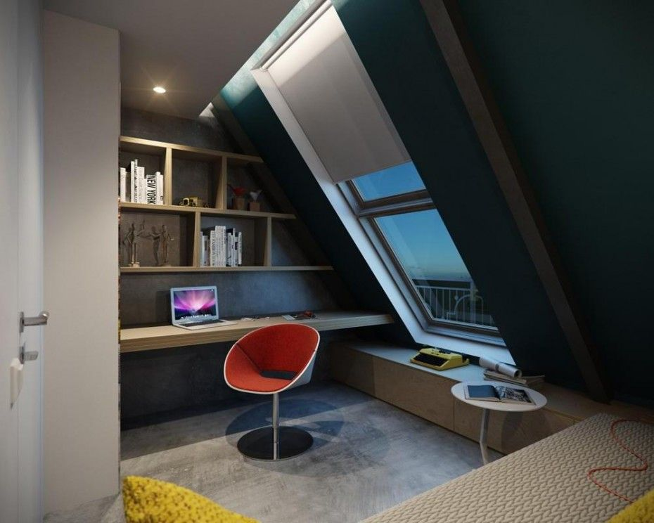 floating office desk. loft office room using unfinished wooden floating desk under wall mounted bookshelf slope glass window