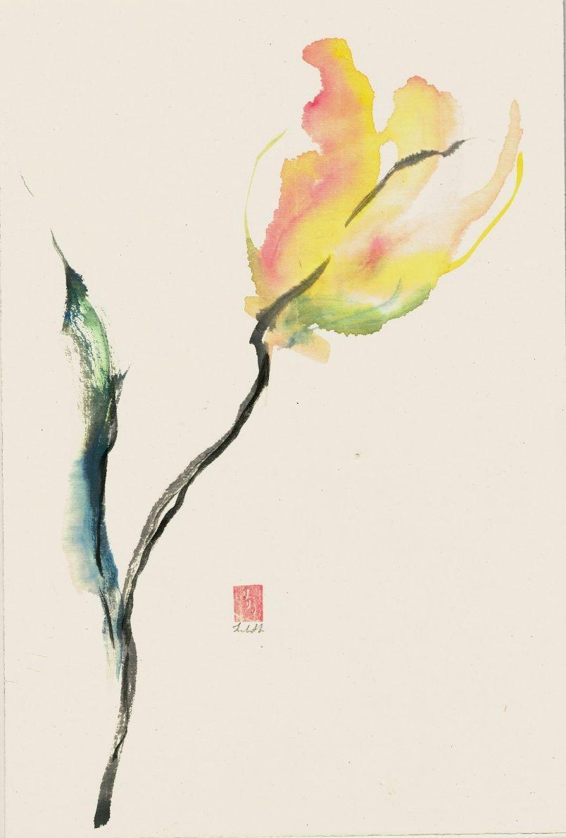 When The Line Finds It S Colour Aquarelle Fleurs Peinture