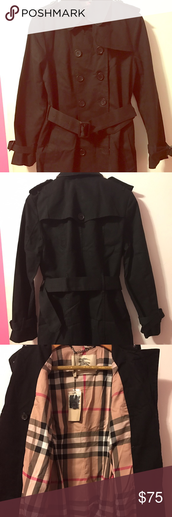 Burberry trench coat w/ detachable belts Selling a brand new replica Burberry trench coat with detachable waist belt and wrist belts. The coat looks great and will fit a 6-10 size perfectly. Color is black and has the Burberry print in the collar. Burberry Jackets & Coats Trench Coats