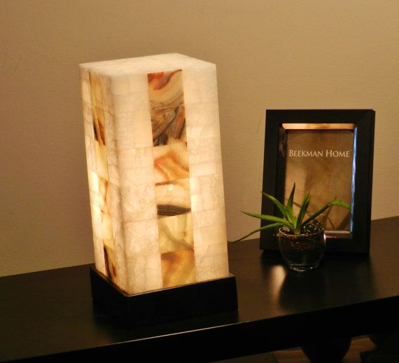 Table Lamp Desk Bedside Onix Stone Quartz By Inspiredstonework