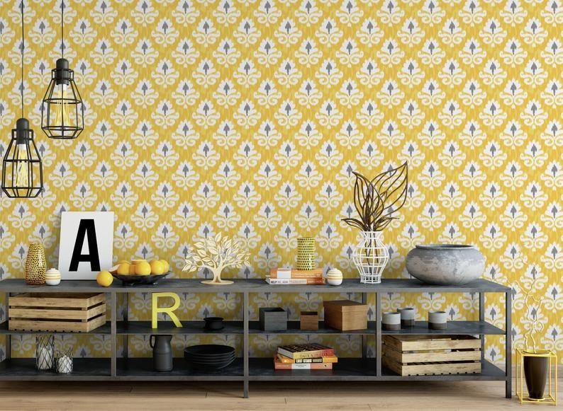 Yellow And Gray Ikat Removable Wallpaper Geometric Peel And Etsy Removable Wallpaper Peel And Stick Wallpaper Traditional Wallpaper