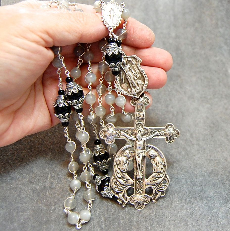 Gray Moonstone Rosary Wire Wrap Marcasite by HeartFeltRosaries
