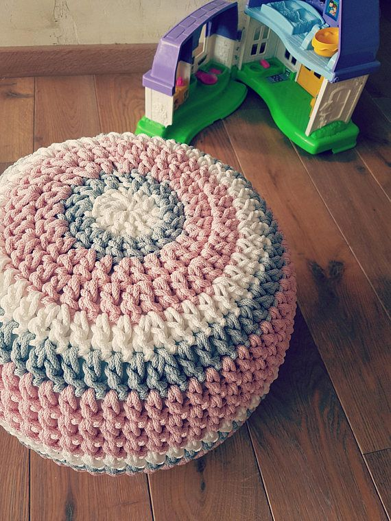 White/Pink/Gray Crochet Kids Pouf- Furniture- Kids\' Furniture- Bean ...