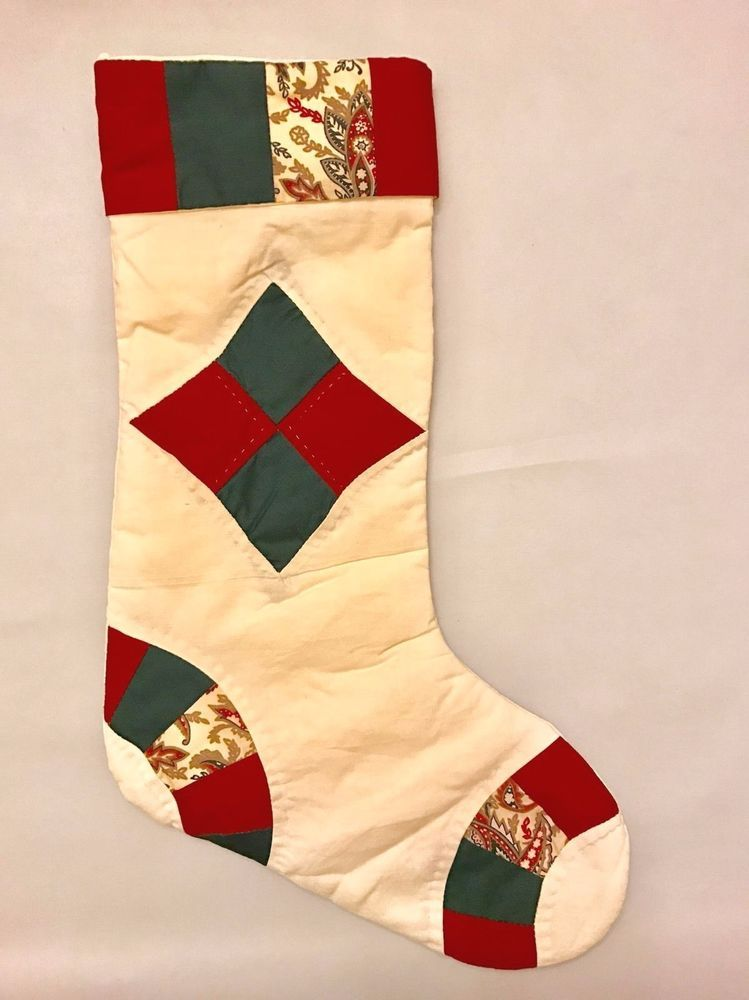 Cream Quilted Christmas Stocking Red Green Cotton American Pacific Boutique #AmericanPacific