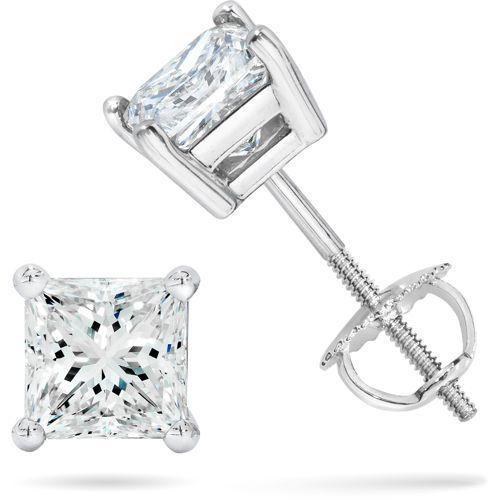 1.50 Ct Princess Cut Stud Earrings Lab-Diamond 14k White Gold Screw Back Gift