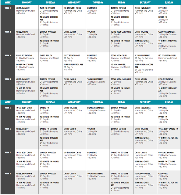 An 8 Week Hybrid Schedule for #21DayFix and the Chisel part of ...