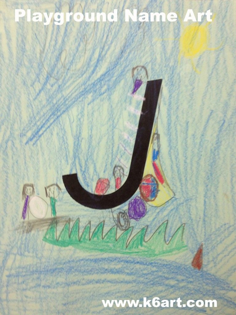 Great art sub idea...students use their first initial to design a ...