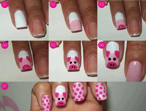Kid nail art - Paps, Moldes, E.V.A, Feltro E Costuras Cow Face, Easy Nail Art