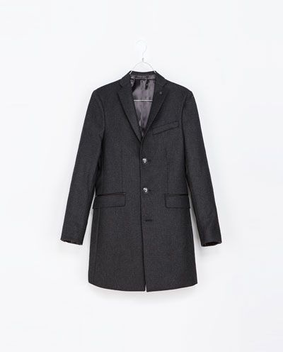 b5c54bee CHECKED OVERCOAT WITH FAUX LEATHER DETAIL - Jackets - Man - New collection  | ZARA United States