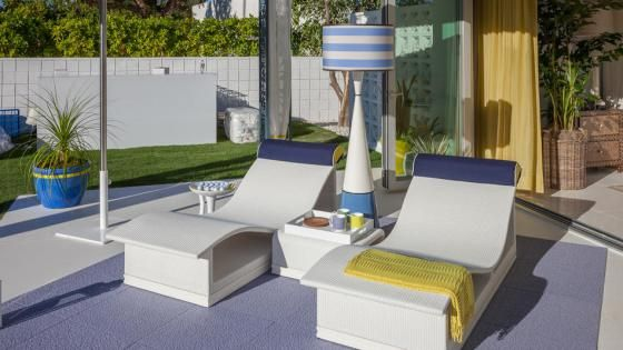 Giati Riveli Chaises and Side Table at Modernism Showhouse, Palm Springs