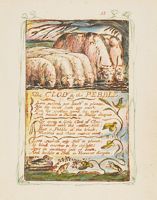 Songs of Innocence and of Experience: The Clod & the Pebble William Blake (British, London 1757–1827 London)  Date:     ca. 1825