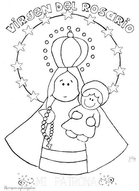 Virgen Del Rosario Dibujos De Virgen Dibujos Colorear