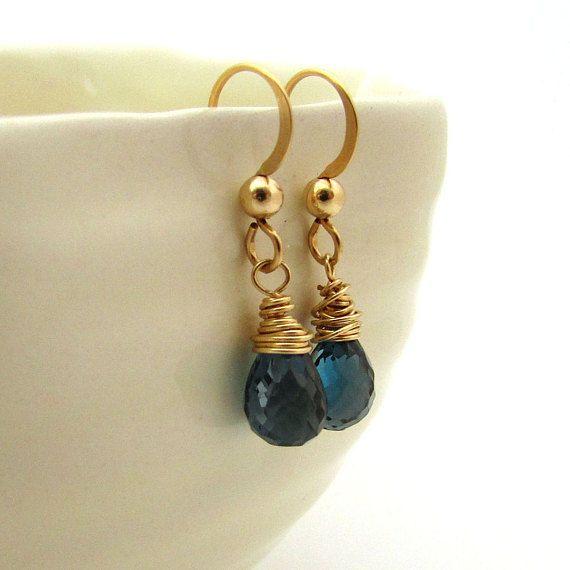 London Blue Topaz Earrings December Birthstone Jewelry Gold Filled Delicate Dark Gemstone