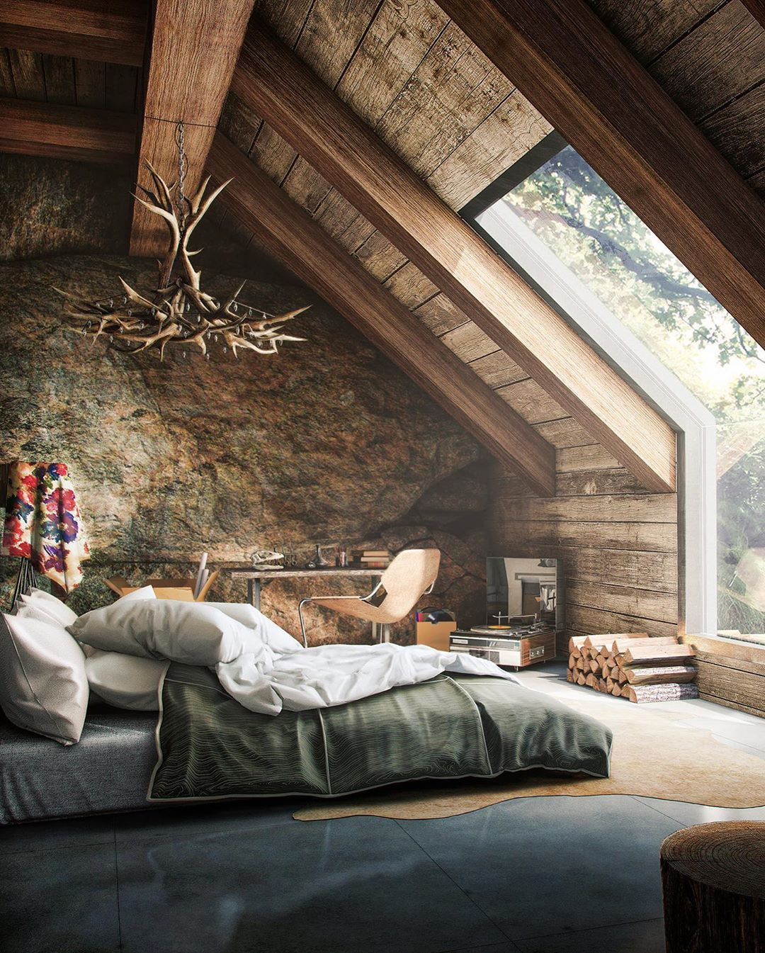 Architecture Design On Instagram Which Bedroom Is Your Favourite 1 2 3 4 Or 5 The First One Is A Rustic Cab Rustic Loft Rustic Bedroom Rustic House