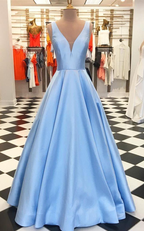 light sky blue long prom dress, 2019 prom dress, satin prom dress, gorgeous long light sky blue prom dress, graduation dress, formal evening dress #bluepromdresses