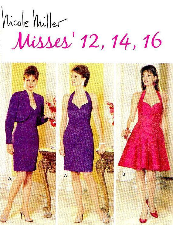 90s Misses\' Nicole Miller Dress and Bolero Jacket - Butterick 5842 ...