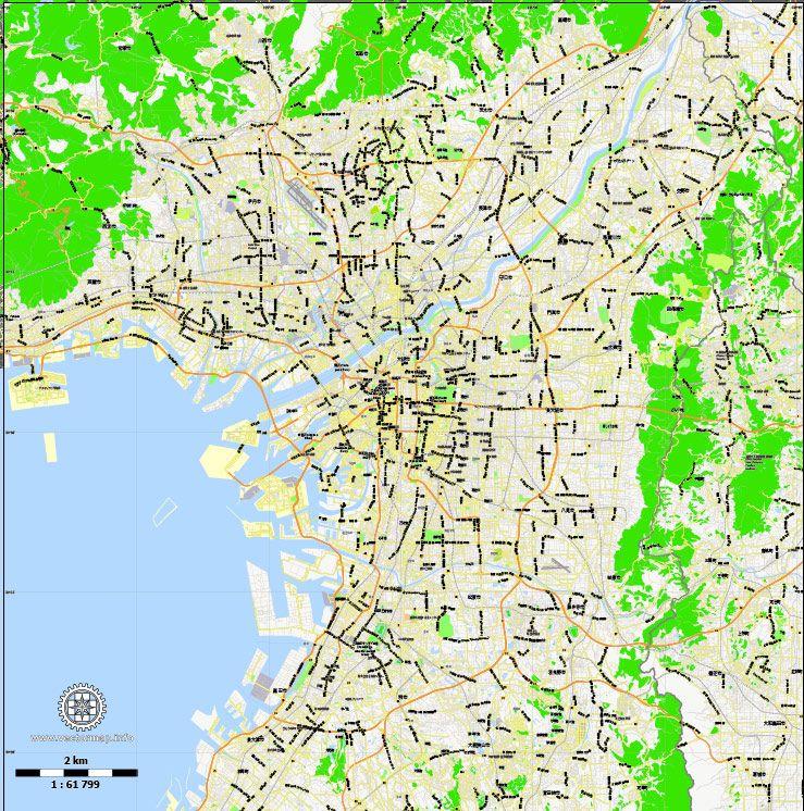 Osaka Vector Map Japan printable exact City Plan 2,000