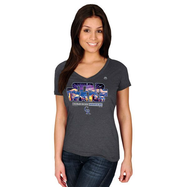 Colorado Rockies Majestic Women's 2015 Star Wars Day Stadium T-Shirt - Charcoal - $21.99