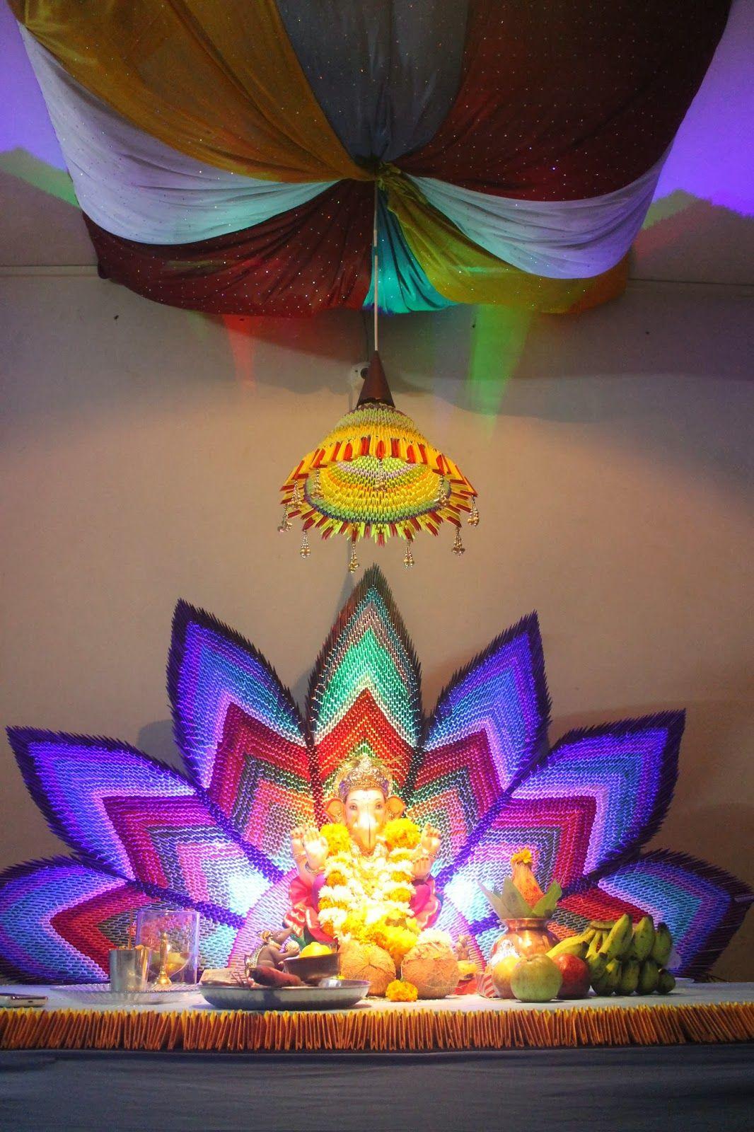 Ganpati decoration jungle theme for Ganpati decorations ideas at home