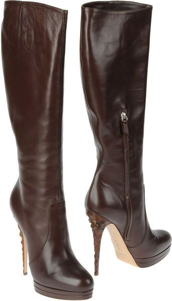 Women's Brown High Heeled Boots | Brown leather, Leather heels and ...