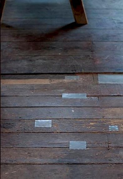 Wood Floor Patched With Tin Would Be Perfect And Easy For The House