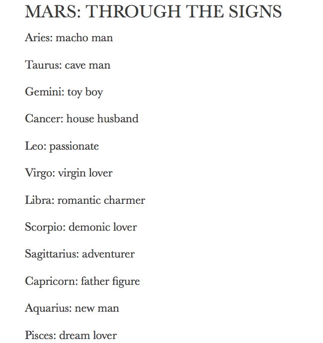 ZODIAC/ASTROLOGY : MARS THROUGH THE SIGNS | ASTROLOGY