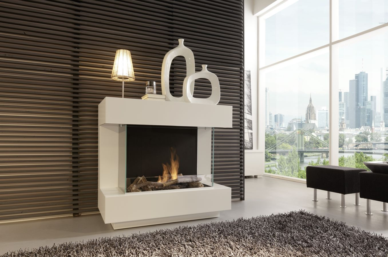 Kamine Ingolstadt Contemporary Central Fireplace Bioethanol Open Hearth