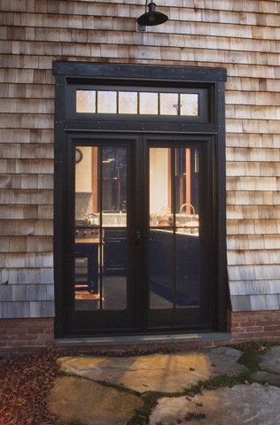 black french doors window above