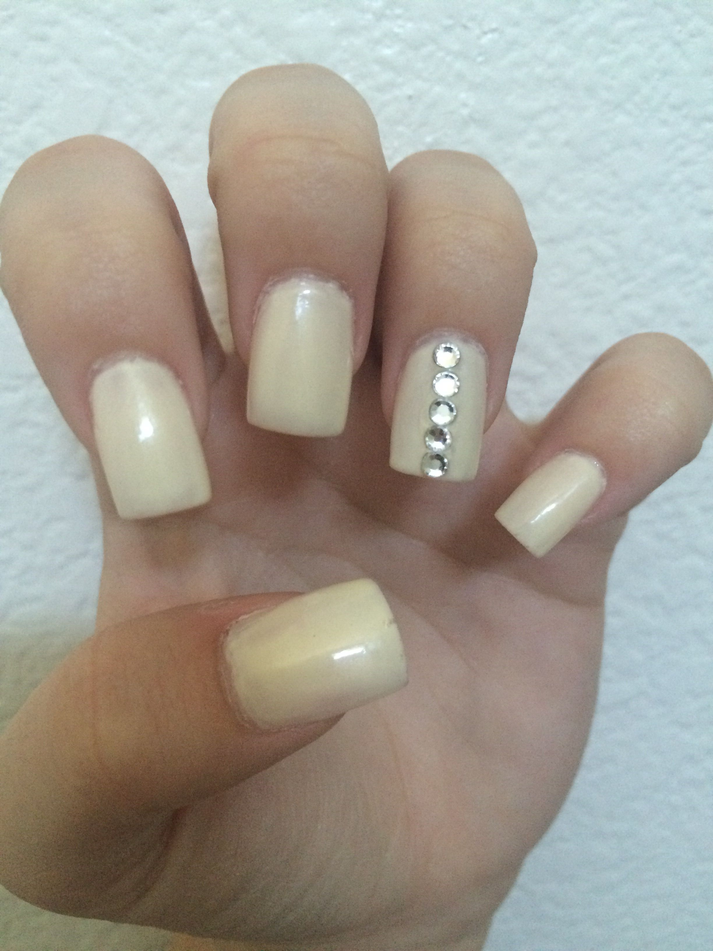 off-white acrylic nails with simple rhinestone design. | Nails ...