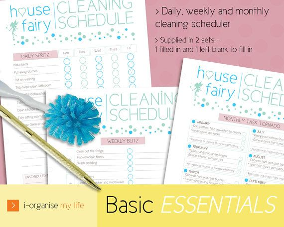 HOUSE FAIRY CLEANING SCHEDULE (downloadable) A magical solution to