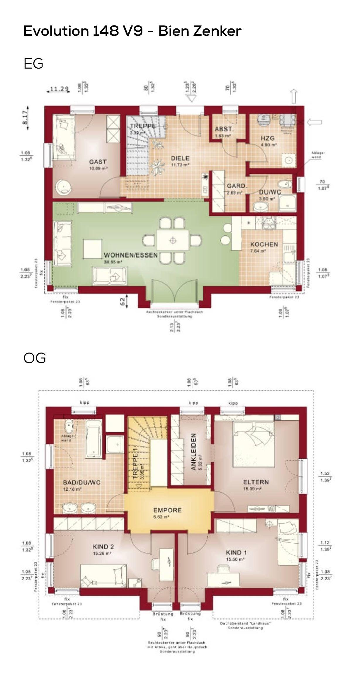 grundriss einfamilienhaus mit pultdach architektur 5 zimmer 150 qm wfl ohne keller erdgeschoss kche offen als wohnkche obergeschoss treppe mit