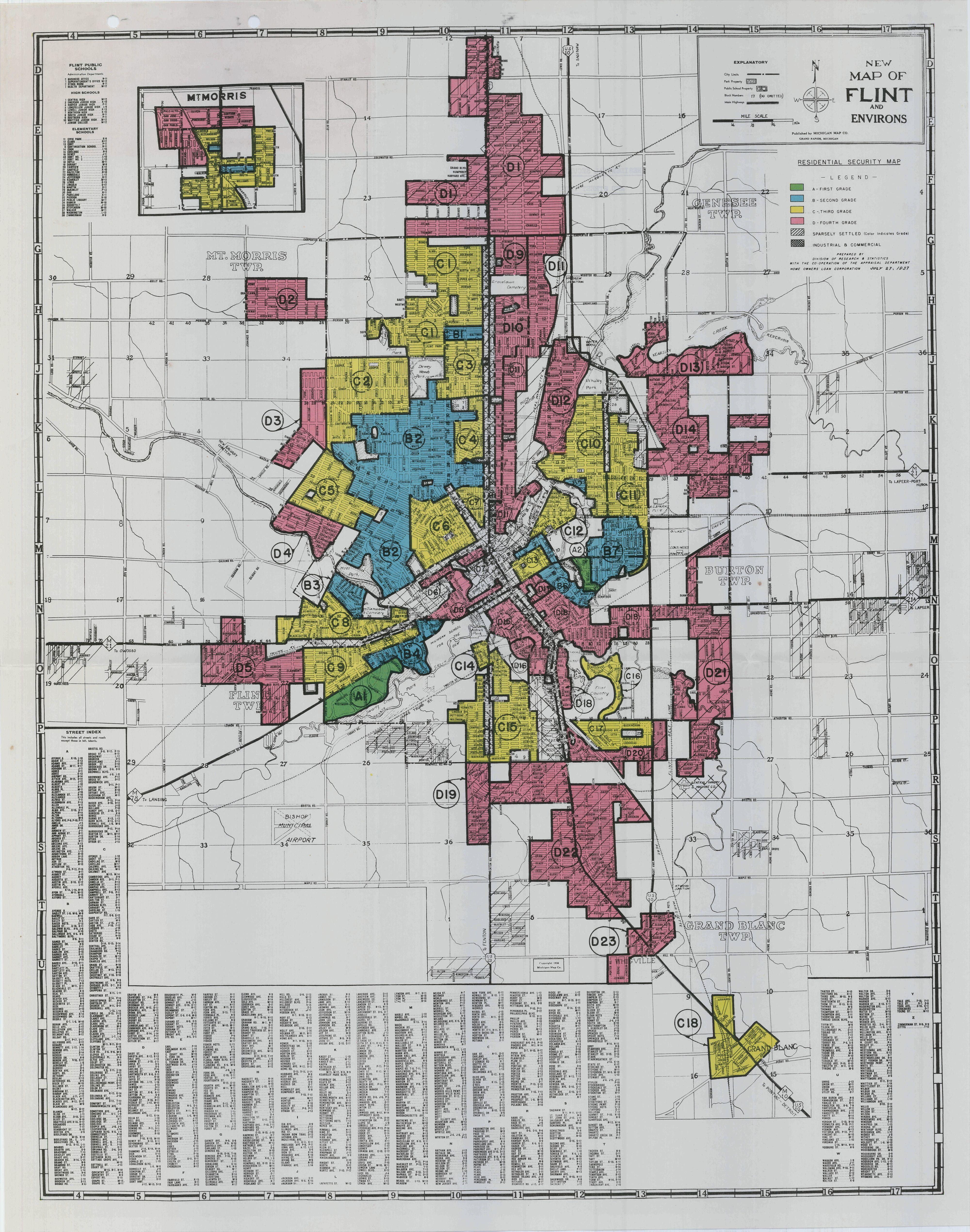 Flint Housing Redline Map 1937 Flint Michigan Flint Michigan