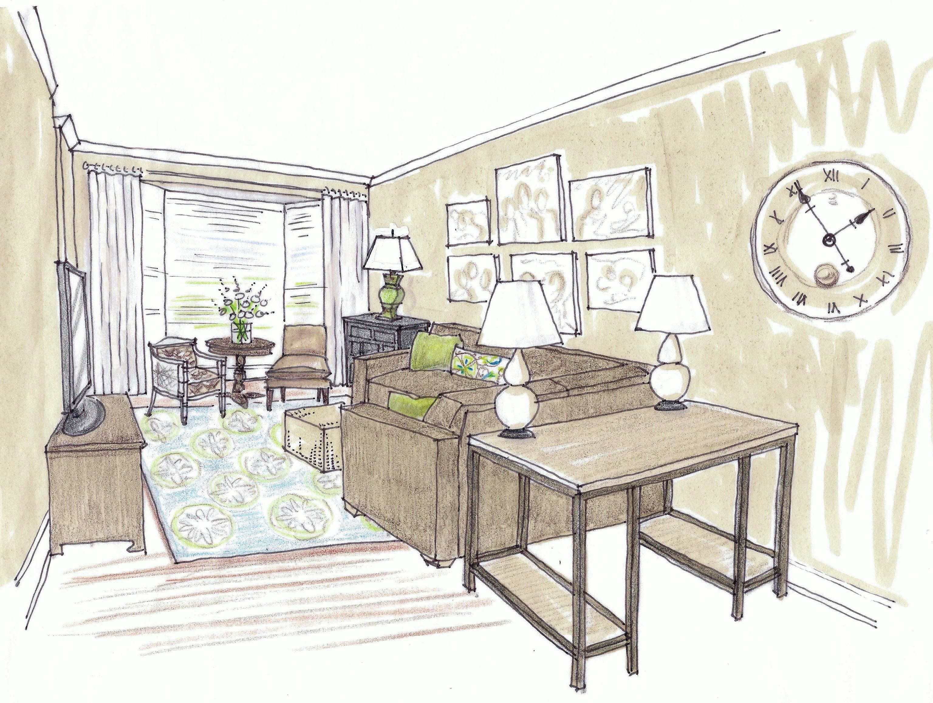 Interior Design Office Sketches desk in family living - google search | betts | pinterest