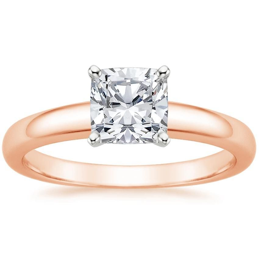 Cushion Cut 3mm Comfort Fit Solitaire Diamond Engagement Ring - 14K Rose Gold