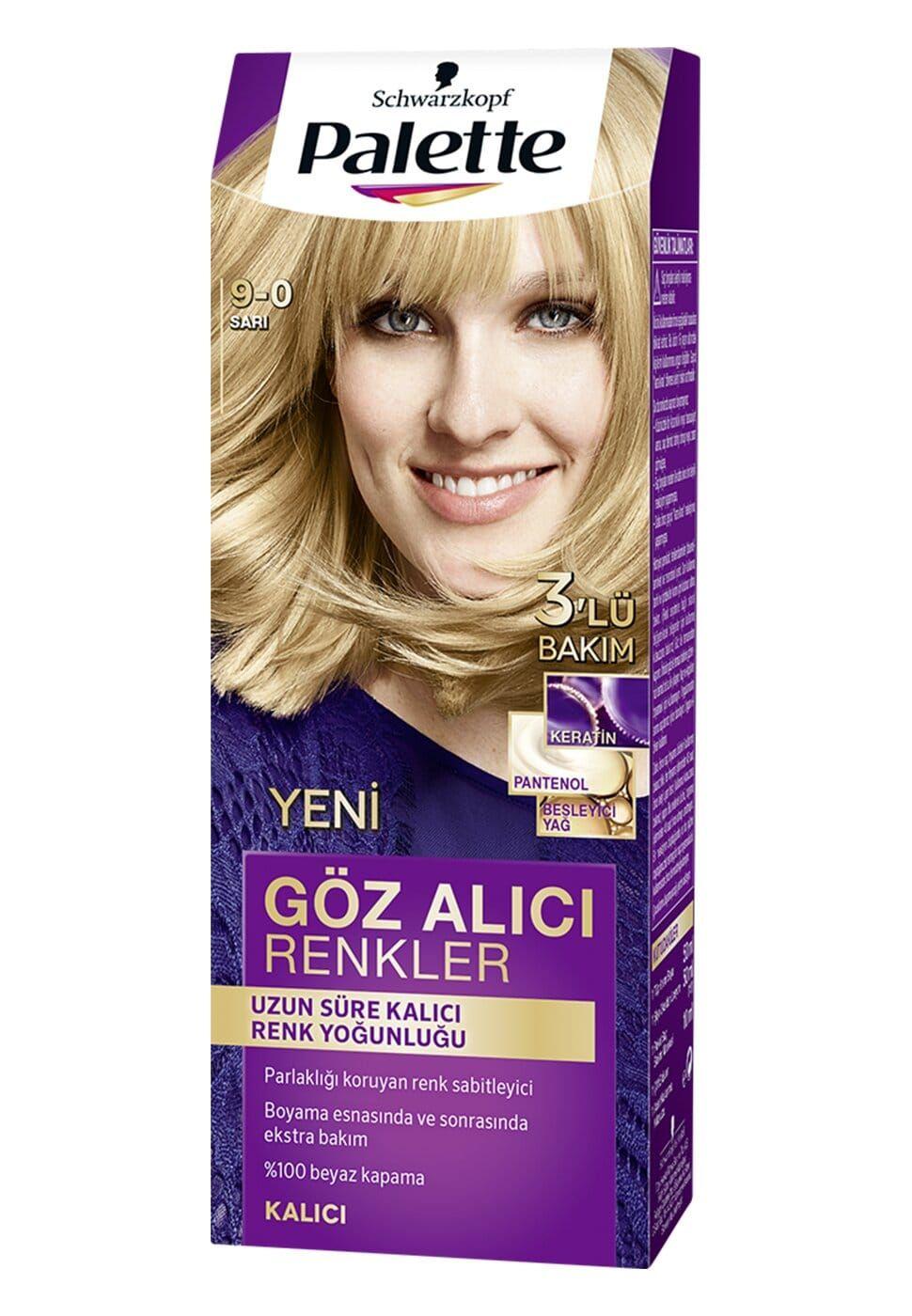 Schwarzkopf Palette Yogun Goz Alici Renkler Sac Boyasi 9 0 Sari