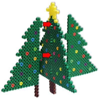 Perler® | 3-D Christmas Trees | アイロンビーズ | Pinterest ...