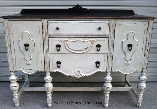 Delicieux Chunky Antiqued Buffet In Distressed Antiqued White, With Dark Brown Top.  From Facelift Furnitureu0027s