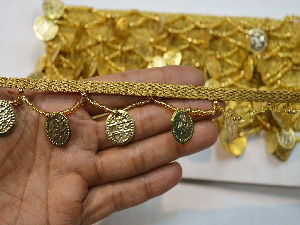 1 5 Indian Decorative Gold Coin Fringes Trim By 4 Yard Home Decor