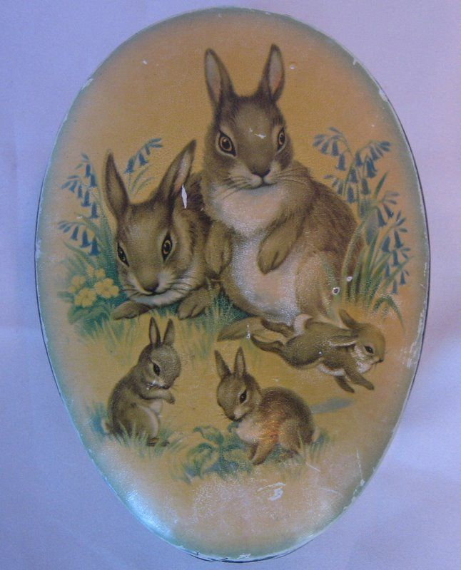 tin egg with rabbits