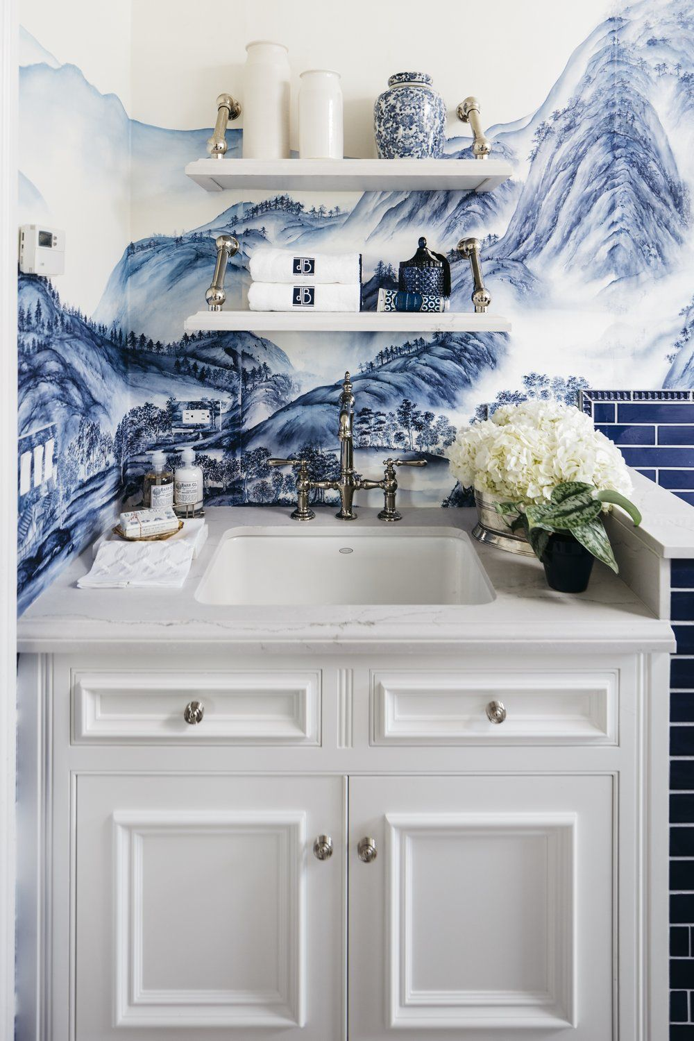 Laundry Room Wallpaper Incredible Laundry Room Makeoverfeatures Handpainted De Gournay
