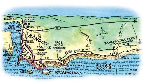 Bandon Dunes Oregon Map.Map Of Bandon Oregon Beaches Hike To Bandon S Beachfront Islands