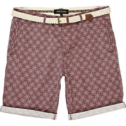 Purple star print belted shorts - smart shorts - shorts - men