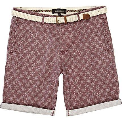 Purple star print belted shorts - smart shorts - shorts - men