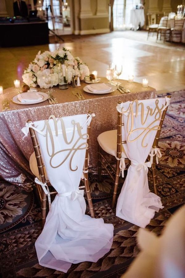 Chic and elegant wedding ideas and details you ll love for Table and chair decorations for weddings