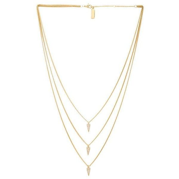 Melanie Auld Triple Pave Triangle Necklace Accessories (€100) ❤ liked on Polyvore featuring jewelry, necklaces, triangle jewelry, pave jewelry, 18k necklace, triangle pendant necklace and pave pendant necklace