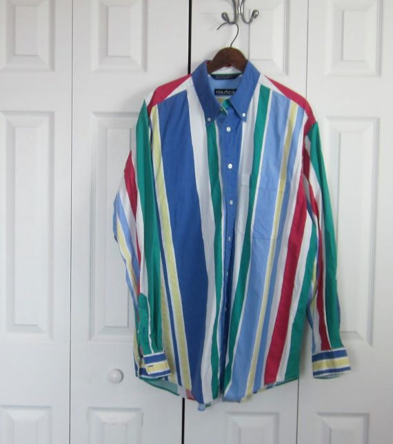 d6c690a0e Vintage Colorful Striped Shirt Primary Colors by MarjoriesMemories,  $30.00#MensStripedShirt