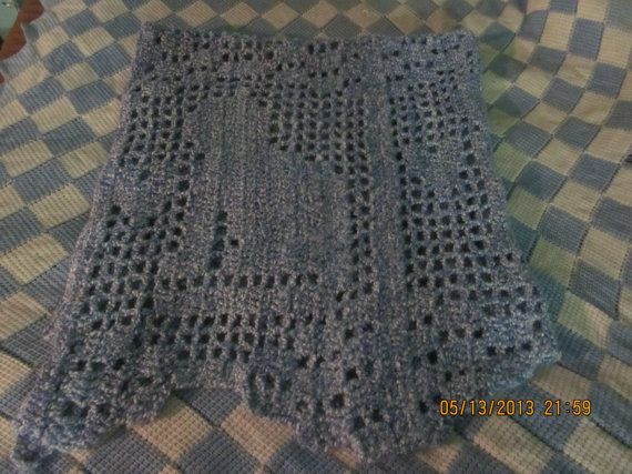 Handmade With Love Heart And Cat Filet Crochet Blanket For Baby