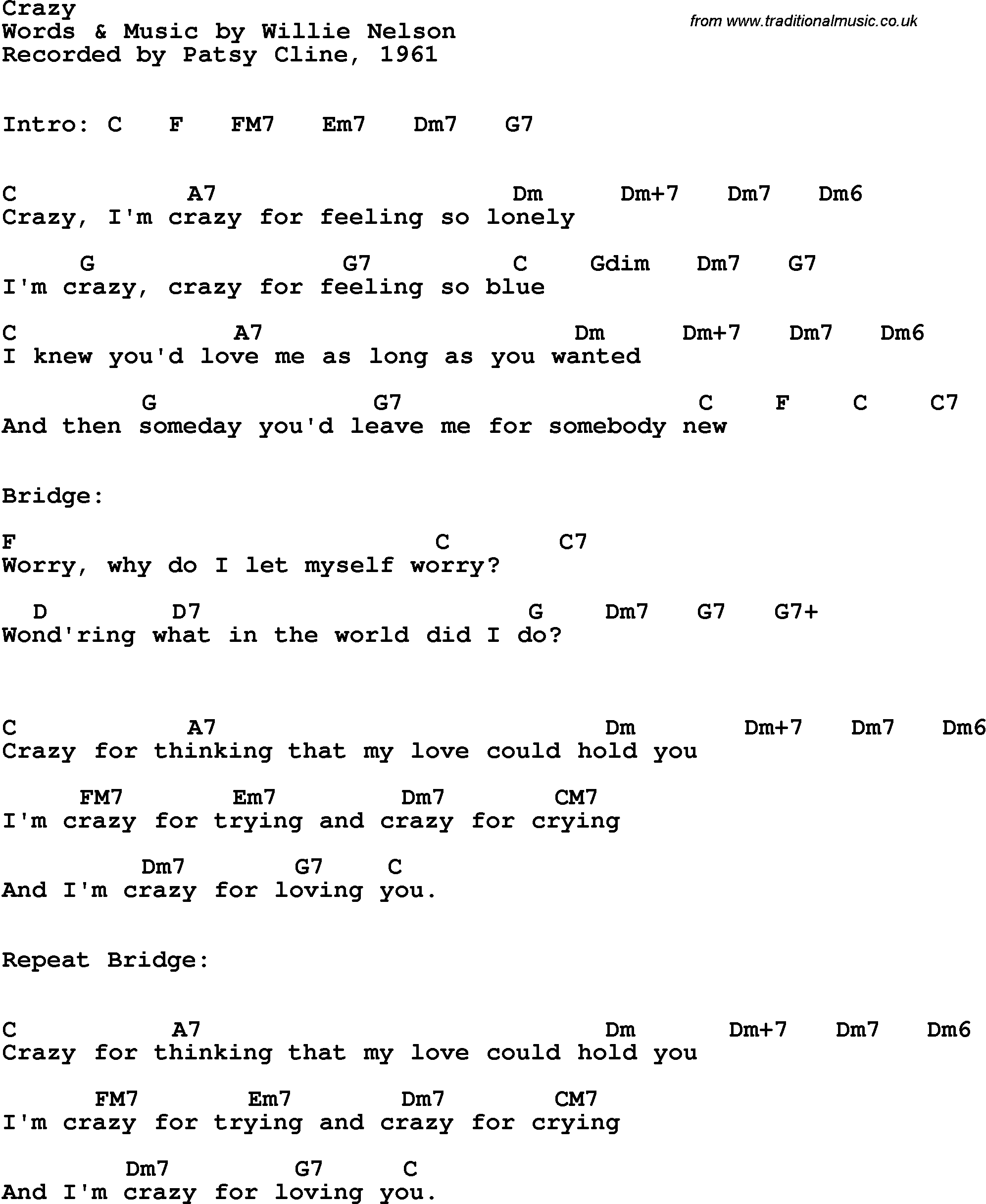 Song Lyrics With Guitar Chords For Crazy Patsy Cline 1961