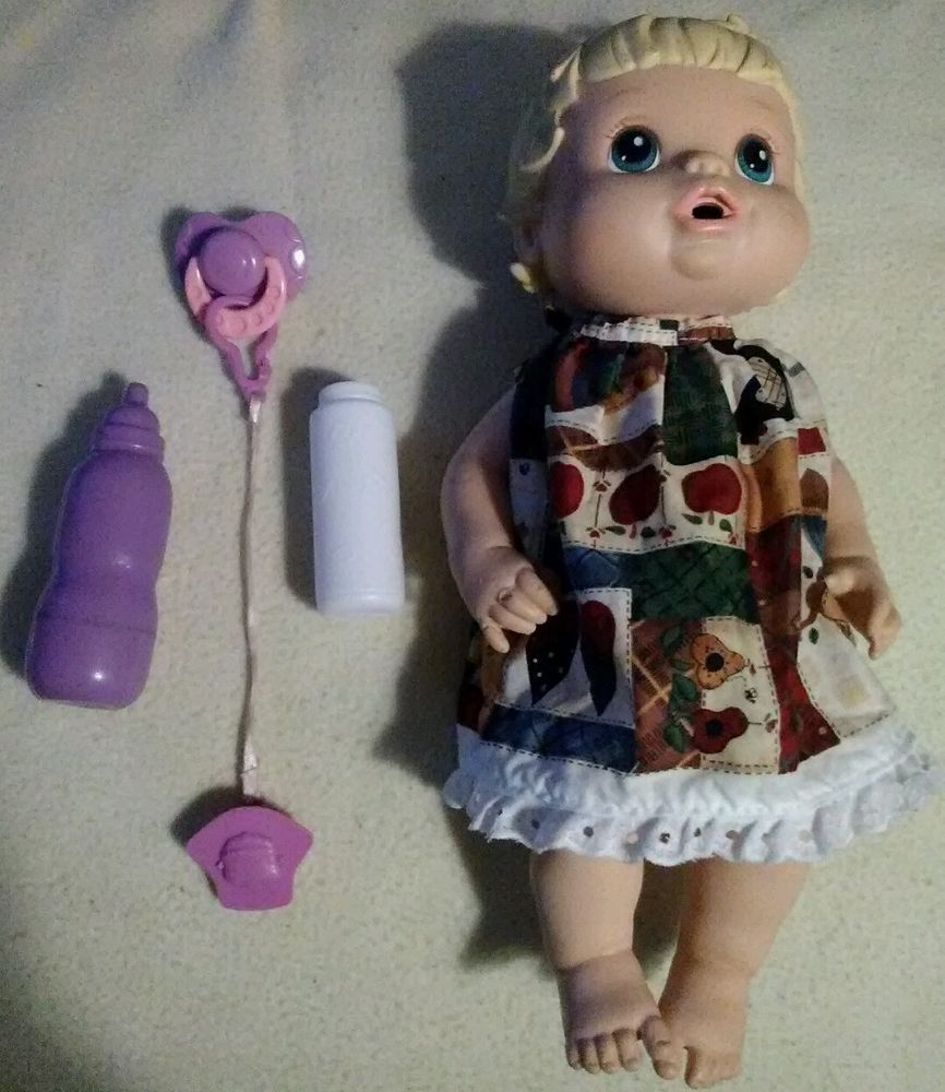 2008 Hasbro Baby Alive with extra doll accessories and hand made outfit #Hasbro