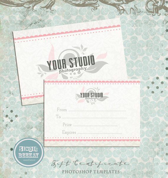 Gift Certificate Photo Card Template Photography By Studiobeekay